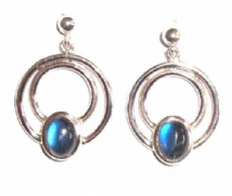 Rainbow Moonstone Earrings Silver Round in Round Stone Over